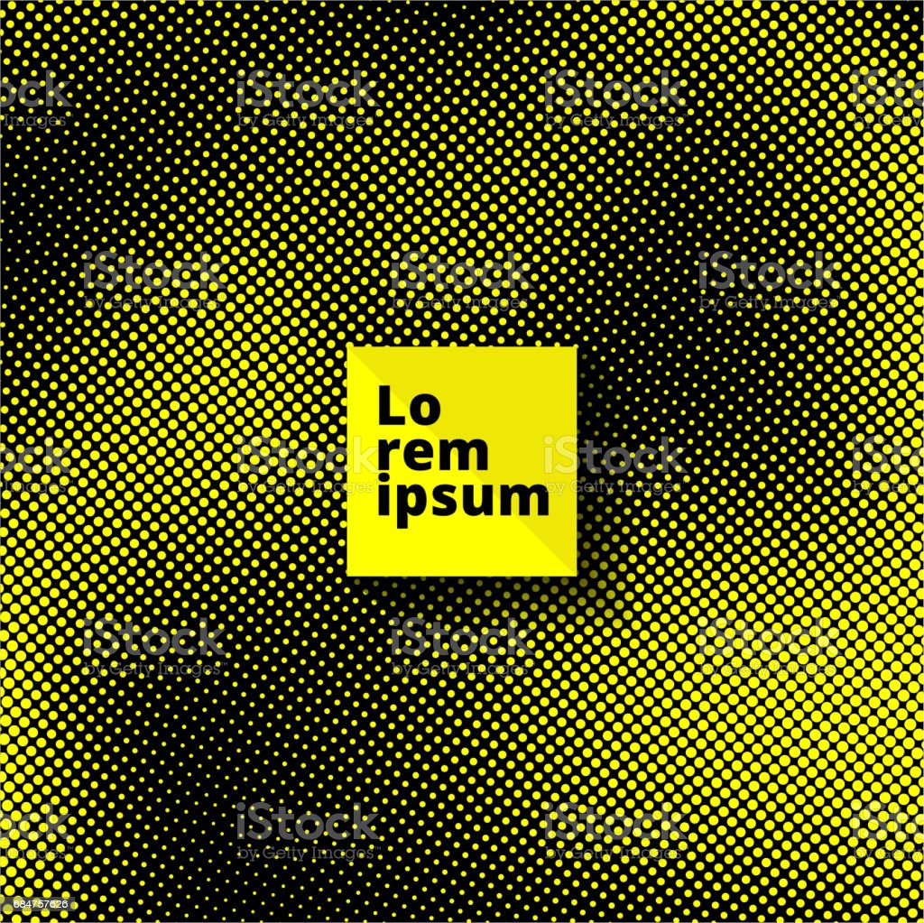 Pop Art seamless pattern. yellow dots on Black background. Halftone color dots. Vector Illustration, copy space vector art illustration