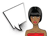 Beautiful shocked black sexy girl short hair and red dress, open mouth style pop art speak. Comic book halftone background. Vector colored dot illustration. Empty blank comic text speech bubble.