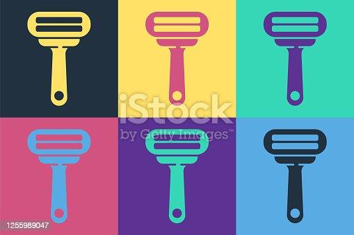 Pop art Shaving razor icon isolated on color background. Vector Illustration