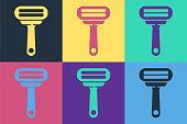 istock Pop art Shaving razor icon isolated on color background. Vector Illustration 1255989047