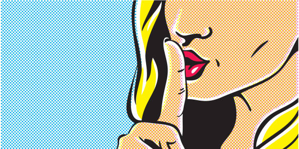 pop art shhh woman, woman with finger on lips, silence gesture, pop art style woman banner, shut up - zmysłowość stock illustrations