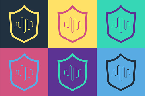 Pop art Shield voice recognition icon isolated on color background. Voice biometric access authentication for personal identity recognition. Vector