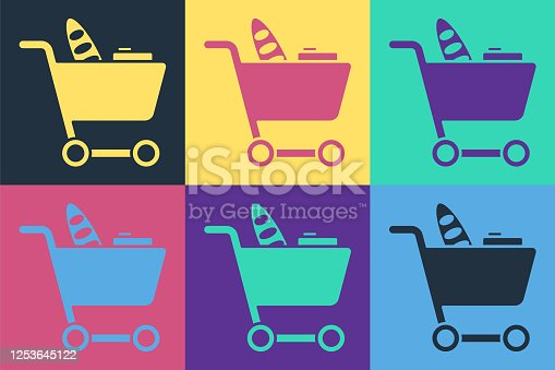 Pop art Shopping cart and food icon isolated on color background. Food store, supermarket. Vector Illustration