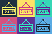 Pop art Signboard outdoor advertising with text Hotel icon isolated on color background. Vector Illustration