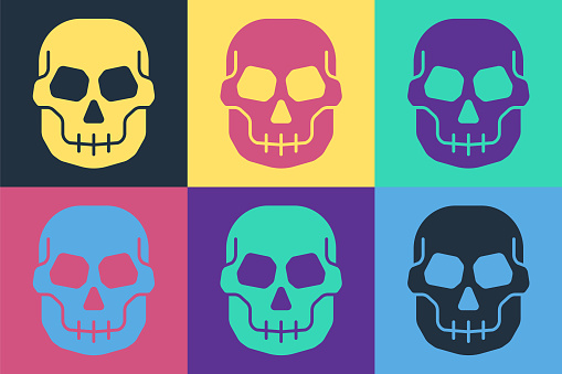 Pop art Skull icon isolated on color background. Happy Halloween party. Vector