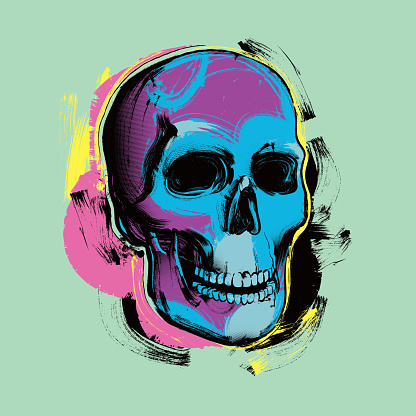 Pop Art skull in Andy Warhol stylel