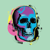 istock Pop Art skull in Andy Warhol stylel 1314739257