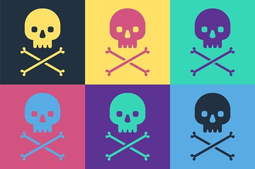 Pop art Skull on crossbones icon isolated on color background. Vector Illustration