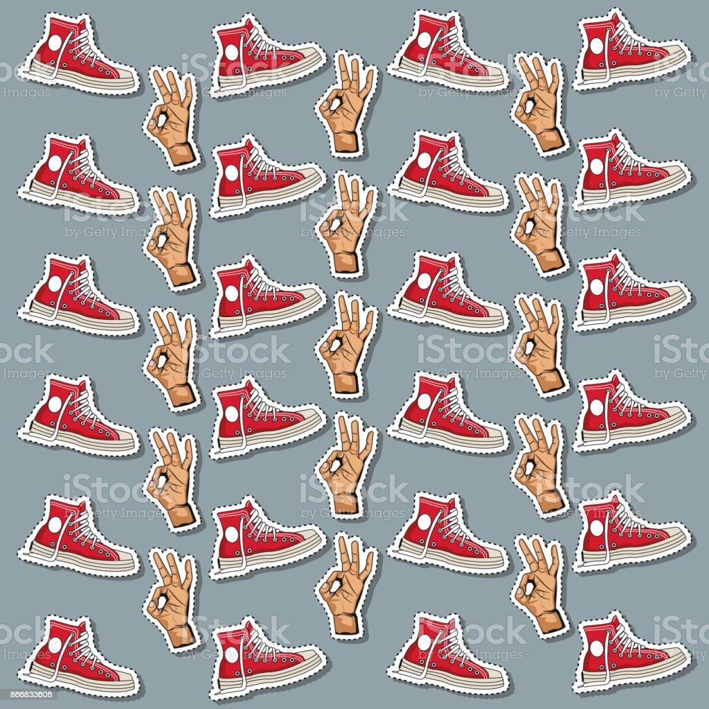 Pop Art Sneaker And Thumb Up Wallpaper Royalty Free Pop Art Sneaker And Thumb Up