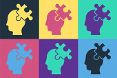Pop art Solution to the problem in psychology icon isolated on color background. Puzzle. Therapy for mental health. Vector.