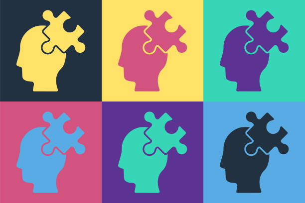 Pop art Solution to the problem in psychology icon isolated on color background. Puzzle. Therapy for mental health. Vector Pop art Solution to the problem in psychology icon isolated on color background. Puzzle. Therapy for mental health. Vector. human head stock illustrations