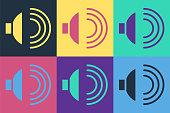 istock Pop art Speaker volume, audio voice sound symbol, media music icon isolated on color background. Vector Illustration 1270644002