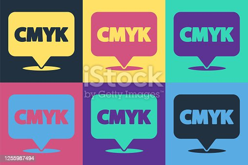 istock Pop art Speech bubble with text CMYK icon isolated on color background. Vector Illustration 1255987494
