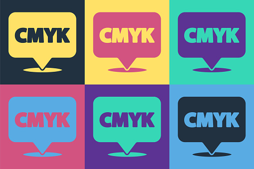Pop art Speech bubble with text CMYK icon isolated on color background. Vector Illustration