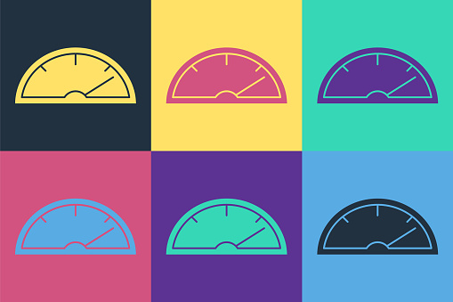 Pop art Speedometer icon isolated on color background. Vector Illustration