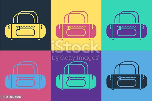 Pop art Sport bag icon isolated on color background. Vector Illustration