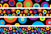Vector illustration of multi colored pop art spots of different sizes on four black banners.