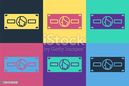 Pop art Stacks paper money cash icon isolated on color background. Money banknotes stacks. Bill currency. Vector Illustration