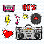 Pop art stickers with tape recorder, cassette, vinyl record and other elements.