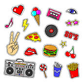 Pop art stickers with tape recorder, cassette, vinyl record, fast food, hand, lips and other elements. Set of pins, patches in cartoon 80s-90s retro comic style.