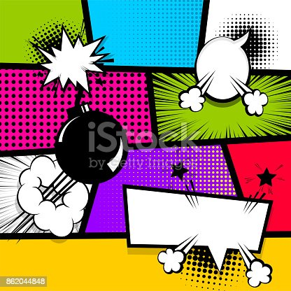 istock Pop art strip comic text speech bubble bomb 862044848