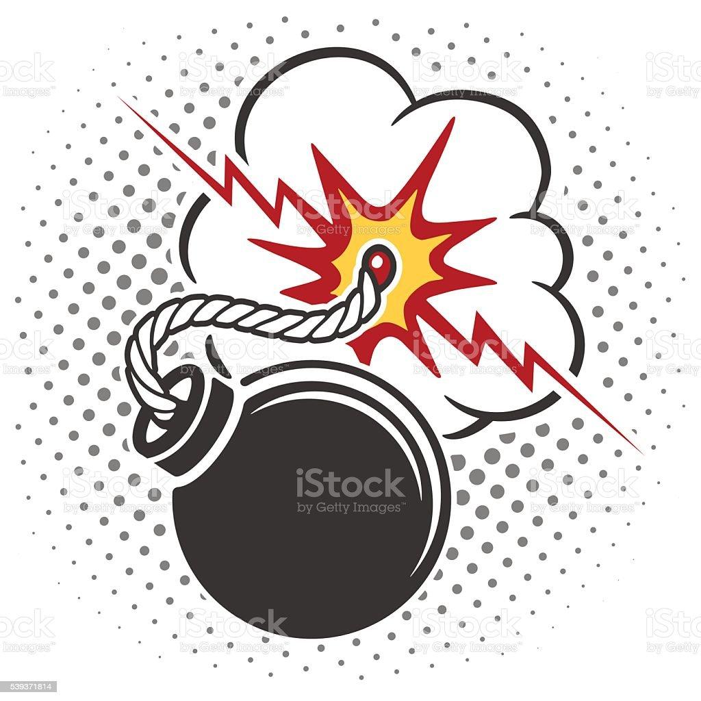 Pop art style bomb vector art illustration