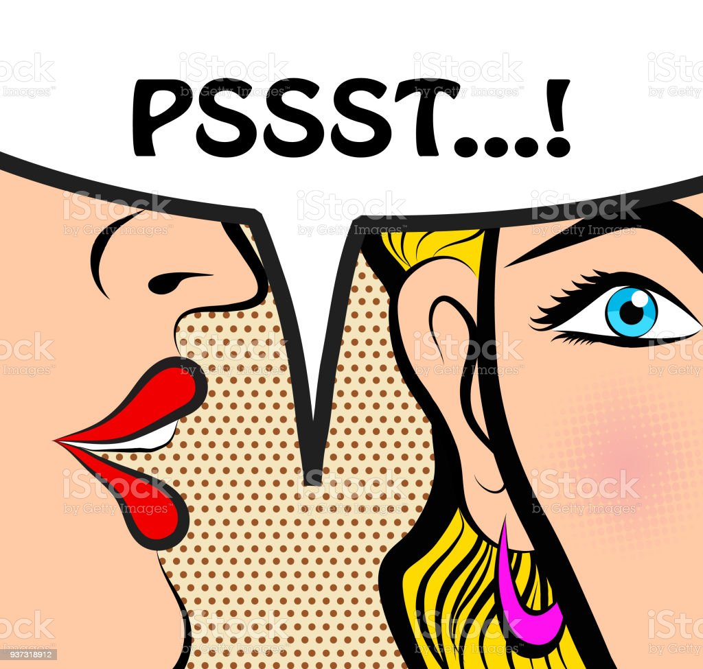 pop art style comic book panel gossip girl whispering in