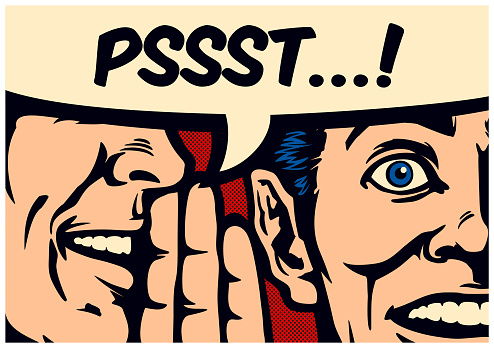 Pop Art style comic book panel gossip man whispering secret or news in ear of surprised person with speech bubble, rumour, word of mouth, fake news concept vector illustration