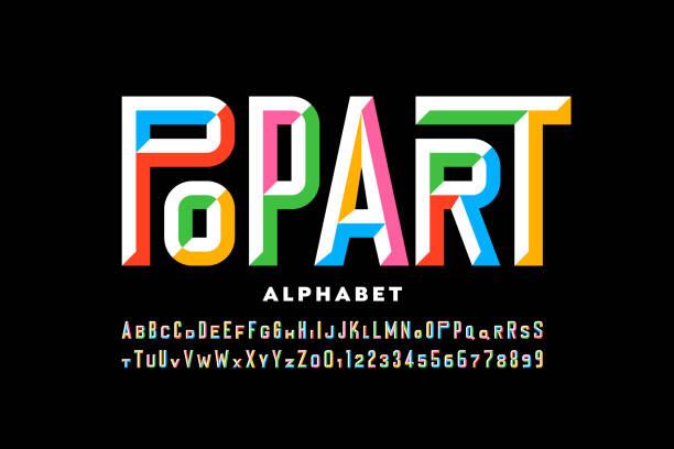 ilustraciones, imágenes clip art, dibujos animados e iconos de stock de fuente de estilo pop art - font