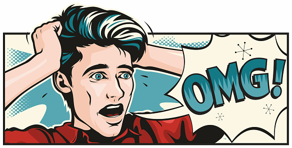 Retro pop art illustration of a wide-eyed terrified young man.