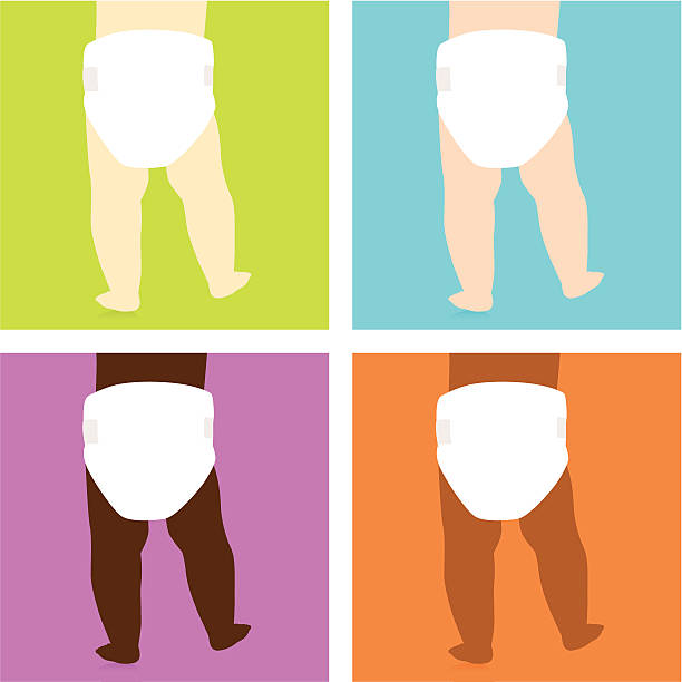Pop art style images of baby bottoms with varying skin color vector art illustration