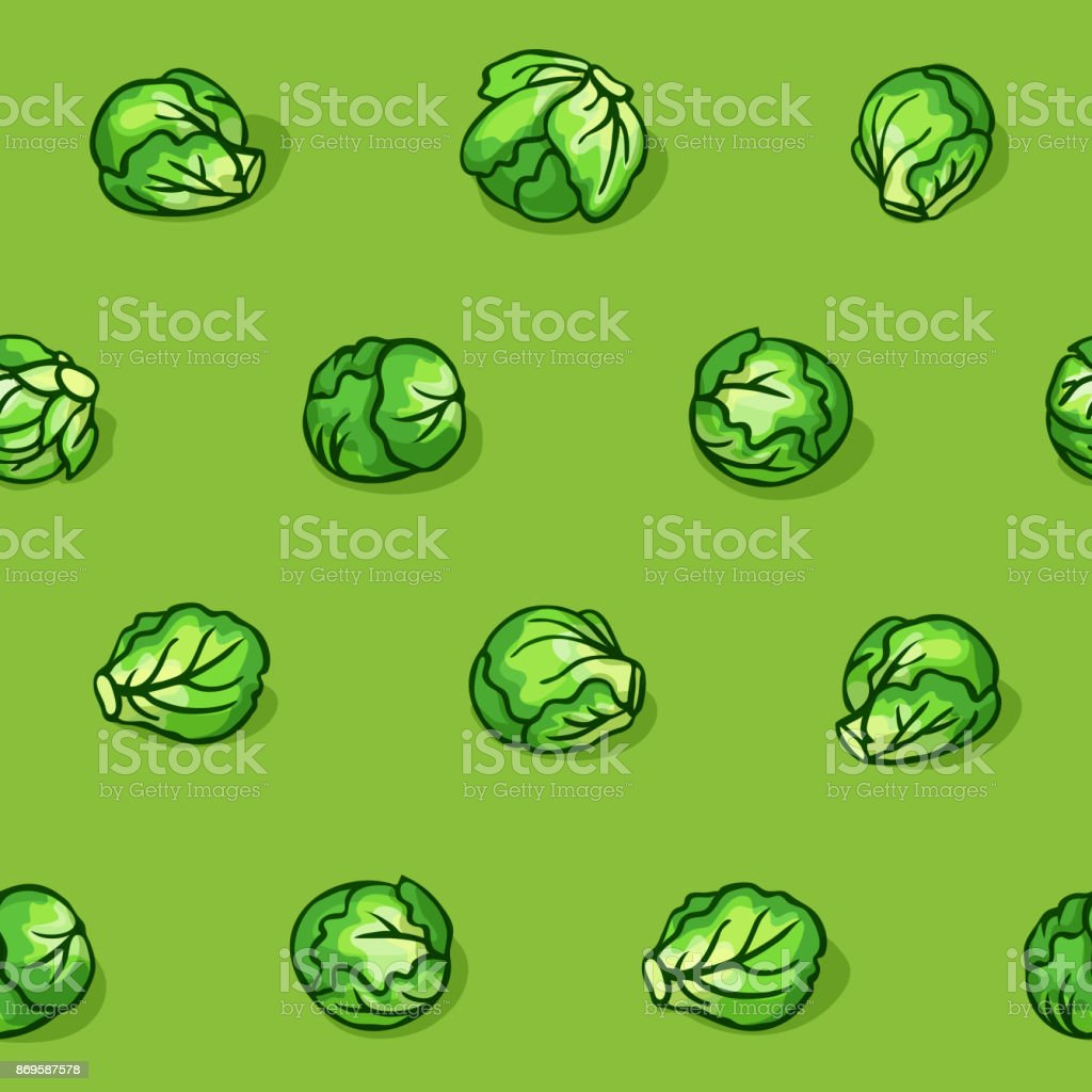 Pop art style seamless pattern with cabbage vector art illustration