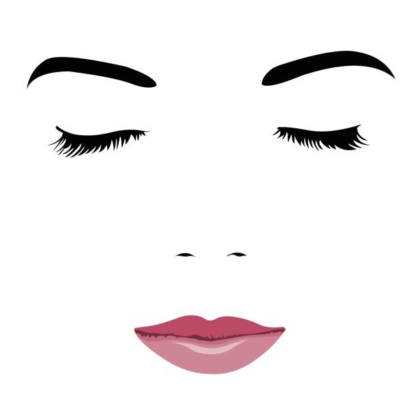Pop art style simplified portrait of young beauty face with closed eyes vector art illustration