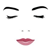 Pop art style simplified portrait of young beauty face with closed eyes