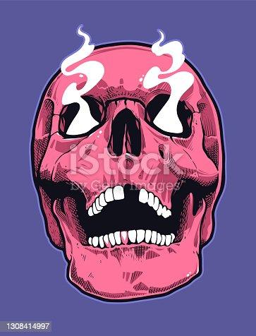 Pop Art Style Skull With Smoking Eyes