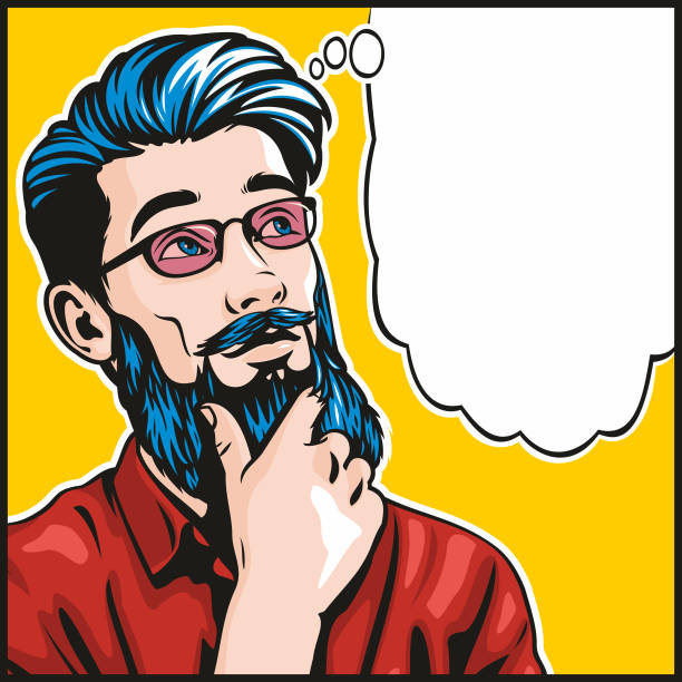Pop art style thinking hipster Man vector art illustration