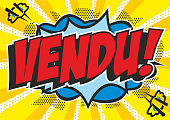 The French word 'vendu' brightly coloured in a pop art comic book style on an explosion background.