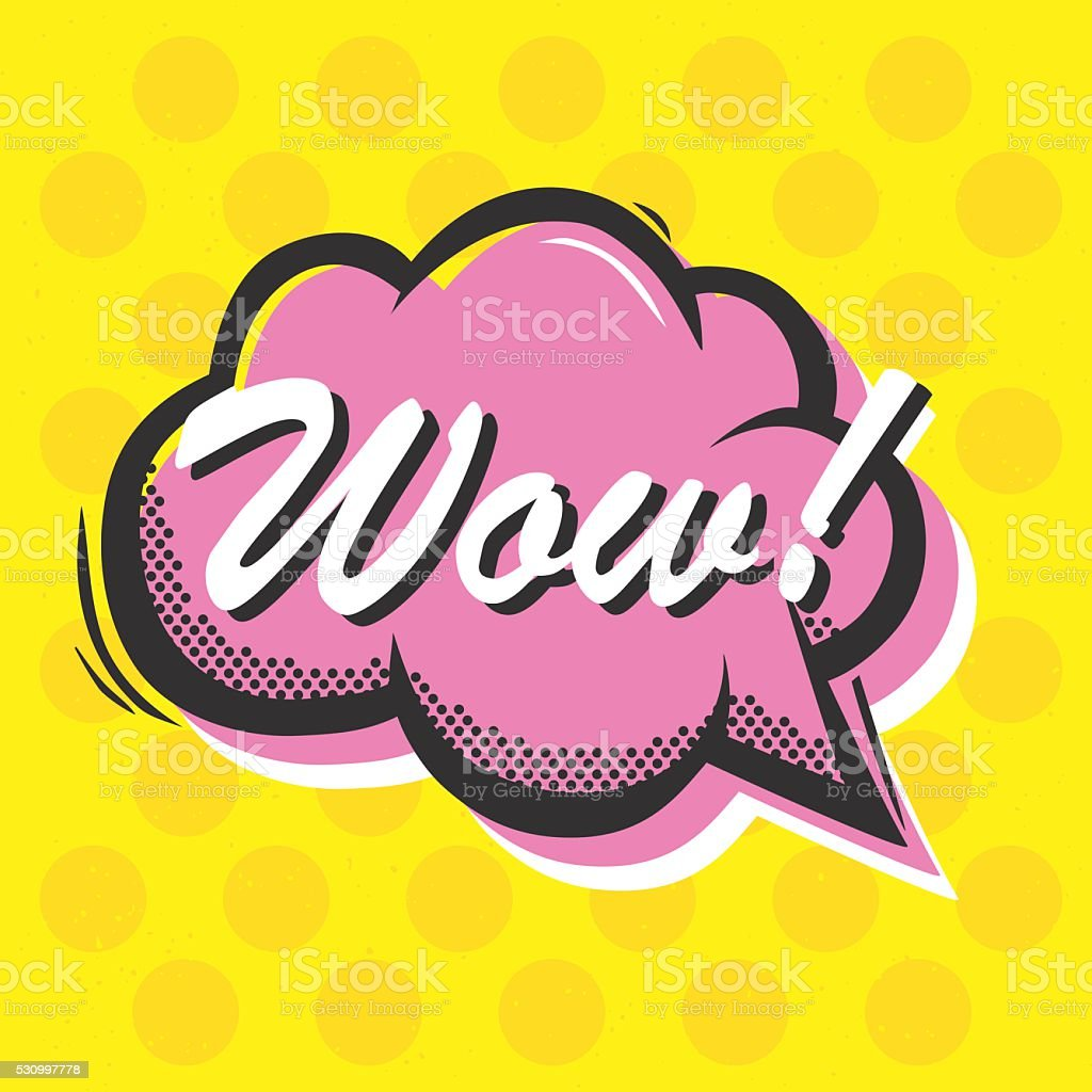 Pop art style Wow isolated vector speech bubble sticker illustration vector art illustration