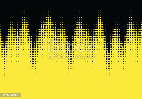 istock Pop art styled halftone retro background with comic dots 1297343421