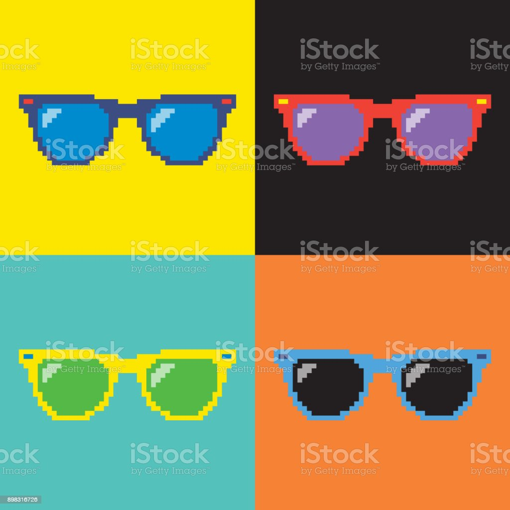 Pop art sunglasses/ Pixel sunglasses/ 8-bit Style sunglasses vector art illustration