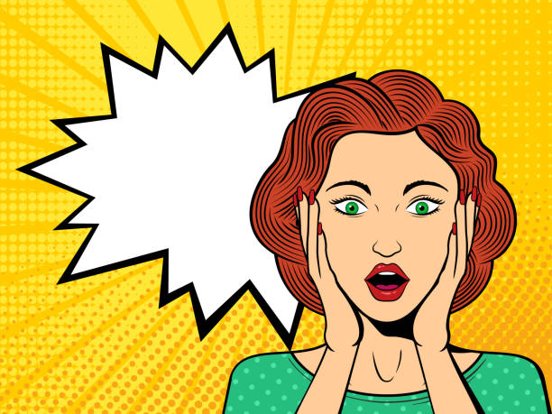Pop art surprised female face with open mouth. vector art illustration