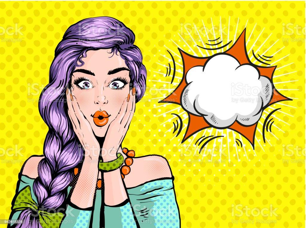 Pop art surprise femme belle face avec la bouche ouverte et les cheveux  violet vif sur c8c014081f3