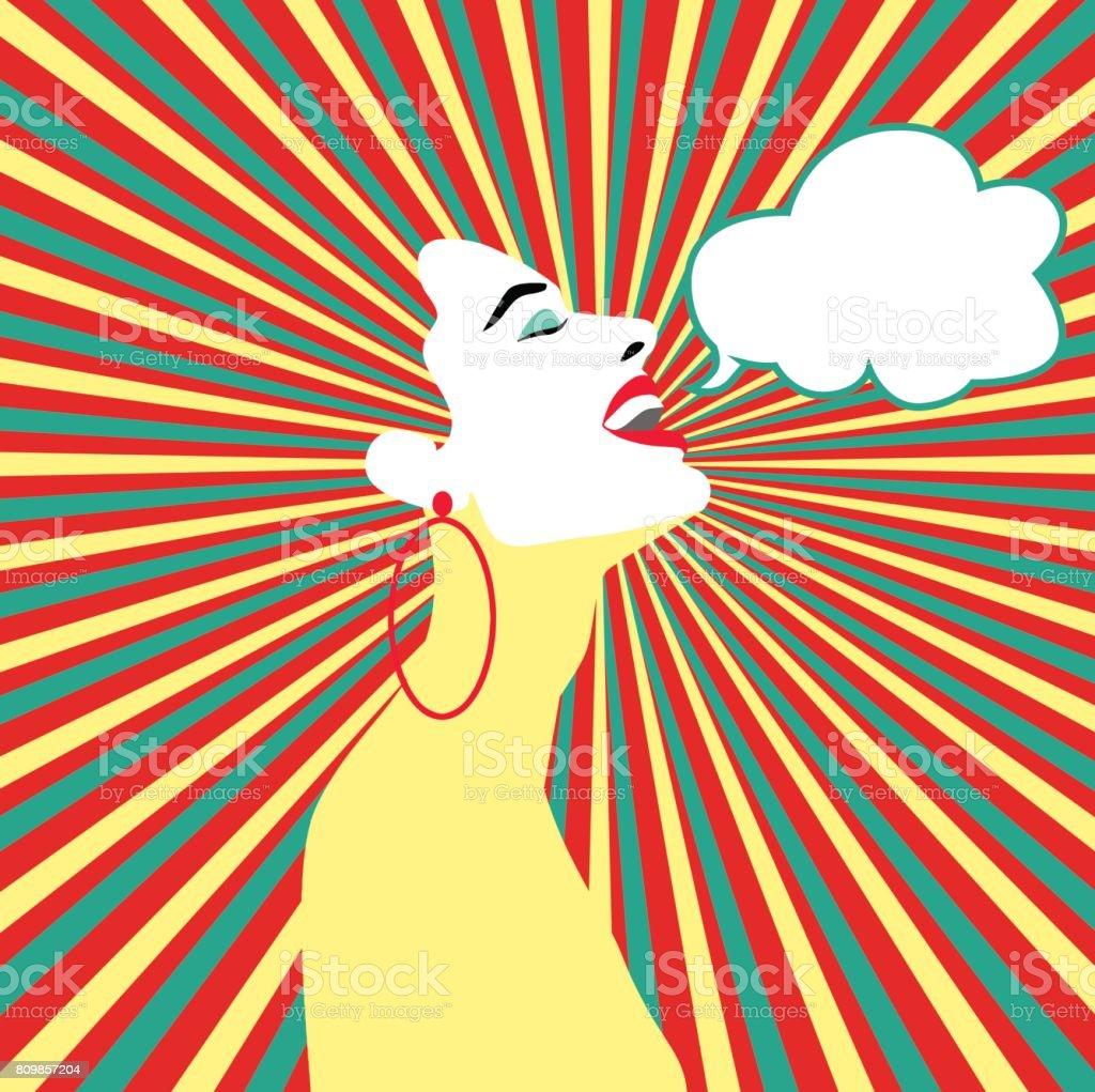Pop art surpris le visage de la femme avec la bouche ouverte. Femme comique avec bulle de dialogue. Illustration vectorielle. Illustration vectorielle - Illustration vectorielle