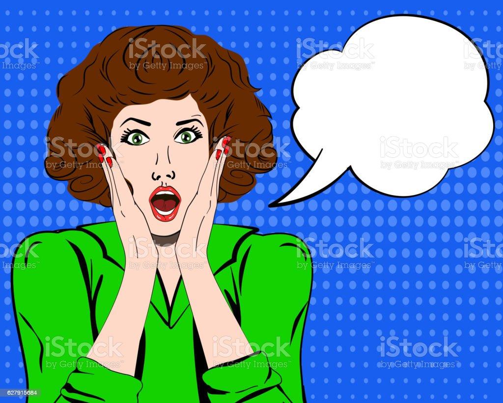 Pop art surprised woman. speech bubble. Vector illustration. Panic. Shocked. vector art illustration