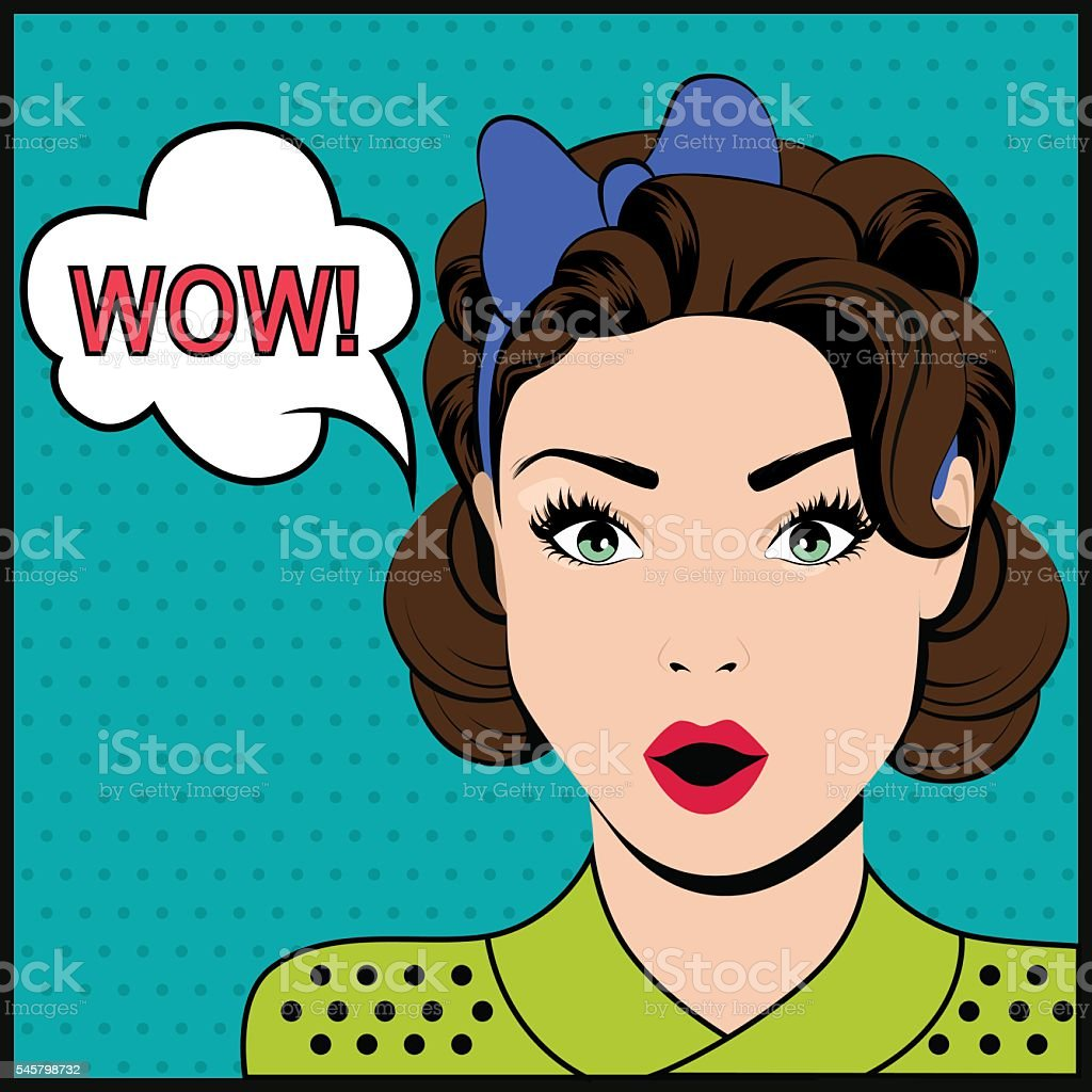 WOW pop art surprised woman vector art illustration
