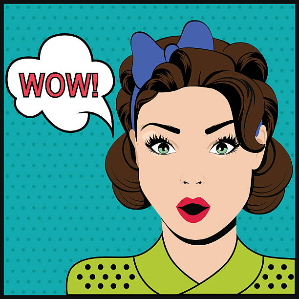 WOW pop art surprised woman vector art illustration