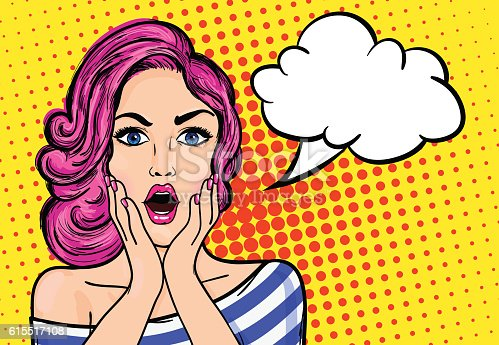 Pop art surprised woman with open mouth on a yellow vintage background. Vector illustration with bubble for text