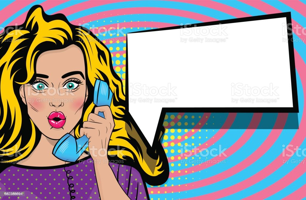 Pop art talk hold hand retro phone cartoon woman pop art talk hold hand retro phone cartoon woman - immagini vettoriali stock e altre immagini di adulto royalty-free