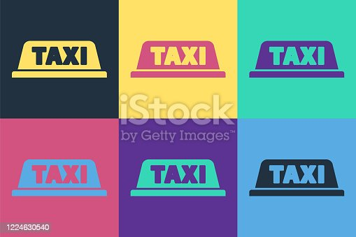 Pop art Taxi car roof icon isolated on color background. Vector Illustration