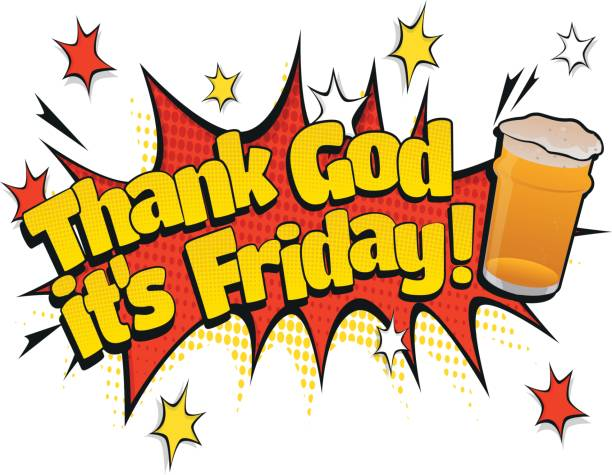 Pop Art Thank God its Friday Pint Day Sign vector art illustration